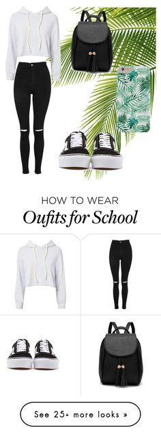 """Going to school"" by kaas-3 on Polyvore featuring Topshop, Monrow and Vans"