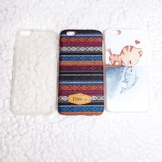 ip6/6S case bundle bundles of 3 cases  ~~Dirose tribal knit red blue orange black hard resin case ~~cute cat and fish printed 3D resin case ~~FREE clear protective flex case with flaps to cover charger outlet  in excellent condition, used once or twice can be sold separately  check my other items! bundles for 20% off! dirose Accessories Phone Cases