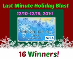 Last Minute Holiday Blast Event! 16 Winners! US & Canada - 2- $500 Visa GC, 4 - $250 Visa, 10 - $100 Visa GC! Mom 'N Daughter Savings Ends 12/19