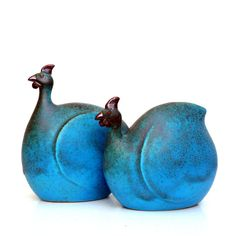 Ceramic Sculpture, Pair Of Turquoise Guinea Fowl- love his fat animals! Artist Jorge Mealha in Portugal