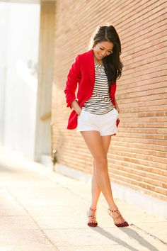 Red jacket w white shorts