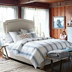 Crisp, light and airy, Bergen is our fresh approach to the mountain home aesthetic. Riffing on traditional Fair Isle patterns, we took the design in a more graphic, refined direction. We're particularly fond of the magnified print on each pillow sham – an innovative play on scale that keeps the look interesting.
