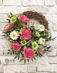 Silk Floral Wreath, Floral Spring Wreath, Summer Wreath for Door, Front Door Wreath, Spring Wreath, Grapevine Wreath, Outdoor Wreath, Silk Wreath, Pink, White, Lime Green, Burlap Bow, Wreath on Etsy, by Adorabella Wreaths