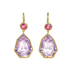 "Verdura ""Byzantine"" Amethyst Drop Earrings with Pink Tourmaline"