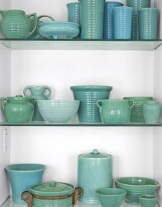 Teal Bauer display in bookcase