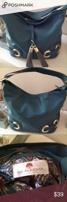 """NWOT Super Cute Big Buddha Bag This gorgeous bag is the perfect accessory to your wardrobe! 14"""" X 11"""" by 6 1/2"""" wide. Color is dark blue teal. Big Buddha Bags"""