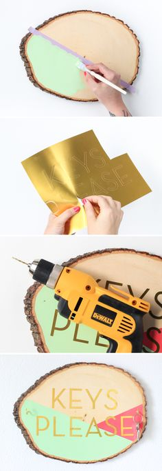 DIY Wooden Slab Key Holder, click through to see the full tutorial! #decoartprojects
