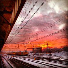 Sunrise over station Hengelo in Twente.