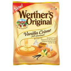 Rich, creamy vanilla filling on the inside, and smooth, soft caramel on the outside. Werther's Caramel, Puffs Cereal, Soft Candy, Snack Recipes, Snacks, Vanilla Flavoring, World Recipes, Just For You, Nutrition