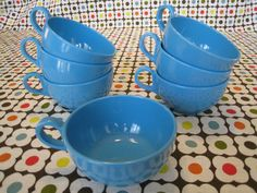 Set of 7 Bright Turquoise Melamine or Melmac by WestTexasVintage