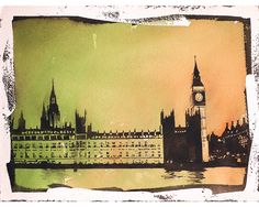 Fine art watercolor painting w/ faux photo borders of Big Ben (clock of Elizabeth Tower) of Houses of Parliament- London, United Kingdom
