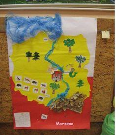 mapa polski Diy And Crafts, Crafts For Kids, Kids And Parenting, Techno, Montessori, Poland, Folk, Education, School