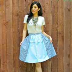 Make this skirt from two men's shirts and add a real sewn waistband for a professional look.