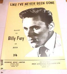 ▒▓ BILLY FURY - Like I've Never Been Gone - sheet music SUPERB | eBay