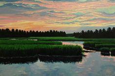 Sunset on Log Bridge Creek | Elise Nuckols Art | Acrylic on birch panel