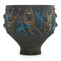 EDWIN SCHEIER (1910 - 2008); MARY SCHEIER (1908 - 2007); Large glazed ceramic vessel with figures, Green Valley, AZ, 1985; Signed and dated; 12