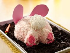 bunny bum cake....box cake mix and a few extra ingredients for presentation.  However, they want you to bake the cake in a glass bowl but you can also bake it in two 8 inch pans and just trim the sides.