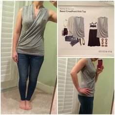 Stitch Fix #8: Me in Benni Crossfront Knit Top. I love this look on me- the way it crosses in front. The material is so soft! I want this in a bunch of different bright colors! (Kept)