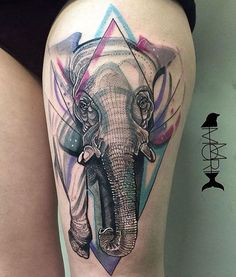 Elephant tattoo by Momori Tattoo Geometric Elephant Tattoo Designs, Colorful Elephant Tattoo, Watercolor Elephant Tattoos, Small Watercolor Tattoo, Abstract Tattoos, Watercolor Sketch, Leg Tattoos Women, Girls With Sleeve Tattoos, Thigh Tattoos
