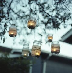 lantern, mason jar lighting, hanging lights, tree, mason jar candles, backyard, mason jars, candle jars, parti