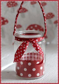 Mason Jar Lantern ... jar, scrapbook paper, scrap for tie, twisted scrap handle.