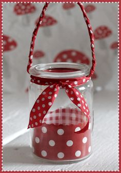 Mason Jar Lantern ... jar, scrapbook paper, scrap for tie, twisted scrap handle.