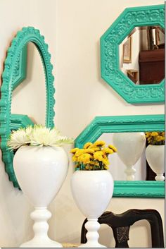 Teal green painted mirrors, what a lovely color. @Jess Pearl Liu Gasch um yes this WILL be in my house