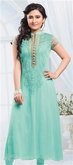 433869 Blue  color family Long Kurtis in Faux Georgette fabric with Resham work .