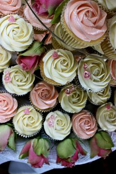 Pink & Ivory Rose Wedding Cupcakes by ConsumedbyCake