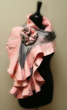 Nuno felted Ruffled Wrap Pink /Gray 18mic by HeartfeltFashion, $110.00