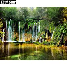 "Full Square Diamond 5D DIY Diamond Painting ""Waterfall landscape"" Embroidery Cross Stitch Rhinestone Mosaic Painting Decor Gift"