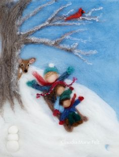 The joys of Winter. This is one of four individual Seasons paintings I created for a Waldorf School. I can create a similar painting for you. The needle felted painting is created completely of wool. The colors were hand dyed by me. The characters and setting are my original design. This painting measures about 10 by 13 and would fit in an 11 by 14 shadow box frame. A custom painting will take one to two months to complete. You may add custom features to depict your family. Additional…