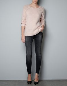 Sweater with Different Knit At Arm Holes
