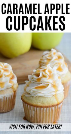 Caramel Apple Cupcakes - Celebrate Fall With This Easy Recipe If you love apple desserts, you'll fall for these apple cupcakes with caramel buttercream frosting. This cupcakes are light and delicious with a fresh spin on traditional buttercream icing. Apple Desserts, Fall Desserts, Apple Recipes, Gourmet Recipes, Baking Recipes, Dessert Recipes, Homemade Cupcake Recipes, Thanksgiving Desserts, Fall Recipes