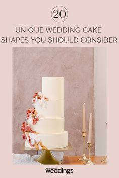 20 Unique Wedding Cake Shapes Contemporary Couples Should Consider Black Wedding Cakes, Amazing Wedding Cakes, Unique Wedding Cakes, Wedding Cake Designs, Wedding Desserts, Unique Weddings, Wedding Cake Centerpieces, Individual Cakes, Cake Shapes