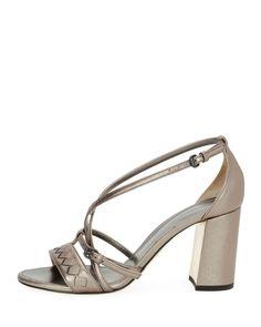 GABRIELLE'S AMAZING FANTASY CLOSET   Bottega Veneta   Silver Metallic Strappy Leather Block-heel Sandal