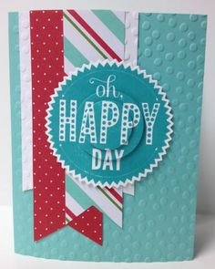 Oh Happy Days!-#JBStampers. Another of my March class cards. Used pieces from the Stampin' Up! Merry Little Christmas card kit!