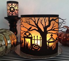 Spooky Forest Halloween Luminary by Rob & Bob. Make It Now in Cricut Design Space Halloween Tags, Halloween Projects, Fall Halloween, Cricut Halloween Cards, Halloween Decorations, Halloween Lanterns, Halloween Paper Crafts, Happy Halloween, Halloween Designs