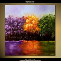 Original Abstract Landscape Painting Modern Lavender Cherry Blossoms Tree Art  In Green Orange Purple On Canvas by Osnat 24x24 FINE ART. $320.00, via Etsy.