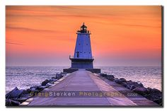 North Breakwater Lighthouse in Ludington, Michigan at sunset.