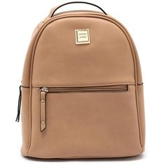 Urban Status 20099 Camel Backpack ($59) ❤ liked on Polyvore featuring bags, backpacks, backpack, rucksack bags, faux-leather backpacks, beige bags, zip bag and zipper bag