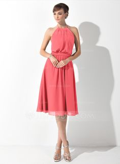 A-Line Princess Scoop Neck Knee-Length Chiffon Bridesmaid Dress With Ruffle  Bow 08b2bdcca40