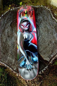 Spiderman Spider Gwen Inspired Skate Board Deck Custom Airbrush Comic Paint Deck #diegogonzalez