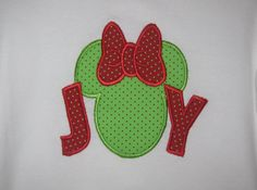 Mickey Minnie Mouse JOY Christmas Applique T-shirt available starting at size 12 months going up girls 14-16 on Etsy, $22.99
