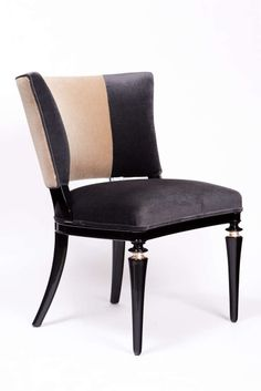 Pair of French 1940's Black Lacquer Chairs