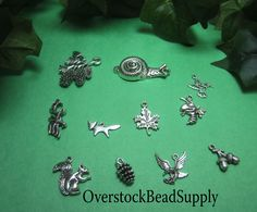 Forest Creatures Charm Collection Woods Animals Fox Eagle Squirrel Bee Snail Pine Cones Acorn Deer Leaf Bird Charms 11 Pieces 9035 by OverstockBeadSupply on Etsy