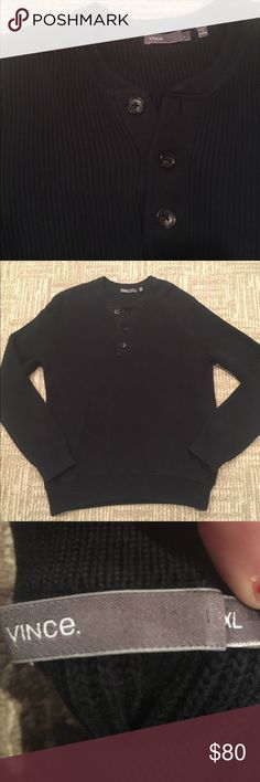 VINCE MENS NAVY THICK THREE BUTTON SWEATER Perfect condition super comfy and warm Vince navy sweater with three dark brown/ back buttons by neckline sling sleeve perfect for fall and winter seasons fast shipping follow for deals make offers through offer button! Vince Sweaters Crewneck