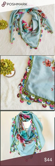 """Exotic Hand Made Needle Lace Floral Scarf This gorgeous floral scarf is handmade. You can use this with any color and anytime of year. You can also use this to wrap around your waist at the beach. Size 36""""x36"""" Fabric is Silk, Polyester. Accessories Scarves & Wraps #handmadebeltsfloral"""