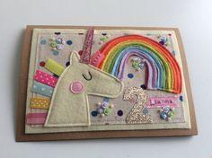 Baby Birthday Card, Unicorn Birthday Cards, Handmade Birthday Cards, Birthday Greeting Cards, Happy Birthday, Fabric Cards, Fabric Postcards, Homemade Greeting Cards, Homemade Cards
