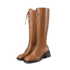 Square Toe Lace Up Low Heel Knee High Boots for   Up2Step Riding Boots, Combat Boots, Black Square, Shoe Size Chart, Suede Heels, Chunky Heels, Low Heels, Knee High Boots, Calves